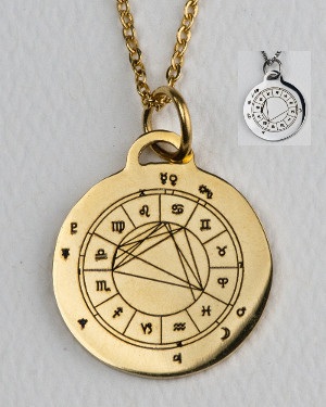Gold-colored StarCharm pendant engraved with astrological natal chart